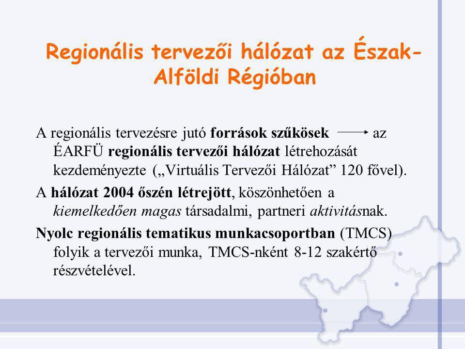 """Regionális tervezői hálózat az Észak- Alföldi Régióban A regionális tervezésre jutó források szűkösek az ÉARFÜ regionális tervezői hálózat létrehozását kezdeményezte (""""Virtuális Tervezői Hálózat 120 fővel)."""