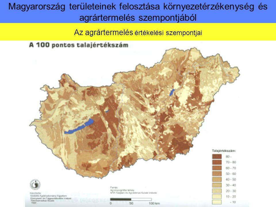 Magyarország területeinek felosztása környezetérzékenység és agrártermelés szempontjából Az agrártermelés értékelési szempontjai