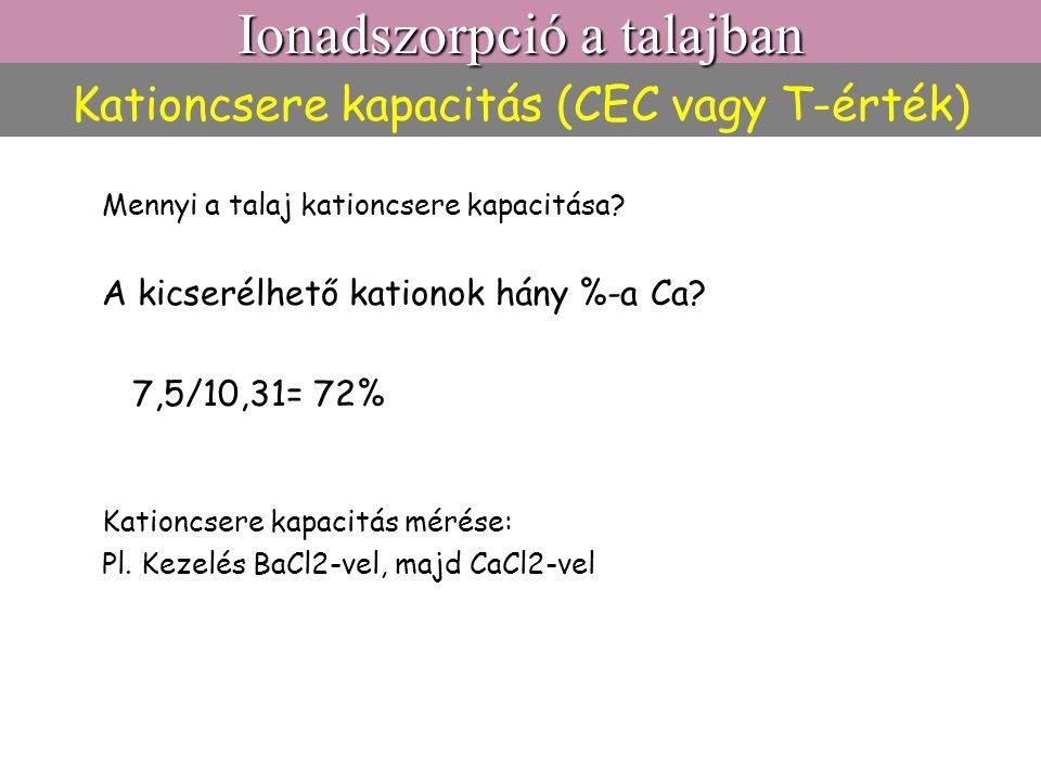 Kationcsere kapacitás (CEC vagy T-érték) Mennyi a talaj kationcsere kapacitása? A kicserélhető kationok hány %-a Ca? 7,5/10,31= 72% Kationcsere kapaci