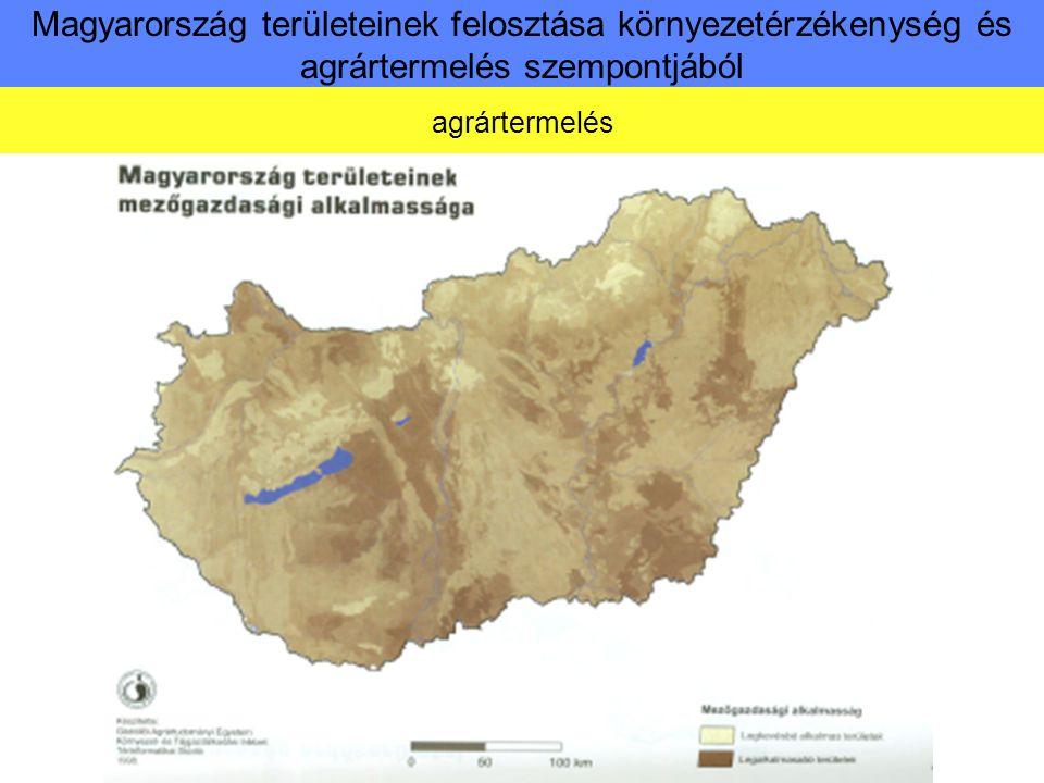 Magyarország területeinek felosztása környezetérzékenység és agrártermelés szempontjából Környezetérzékenység értékelési szempontjai
