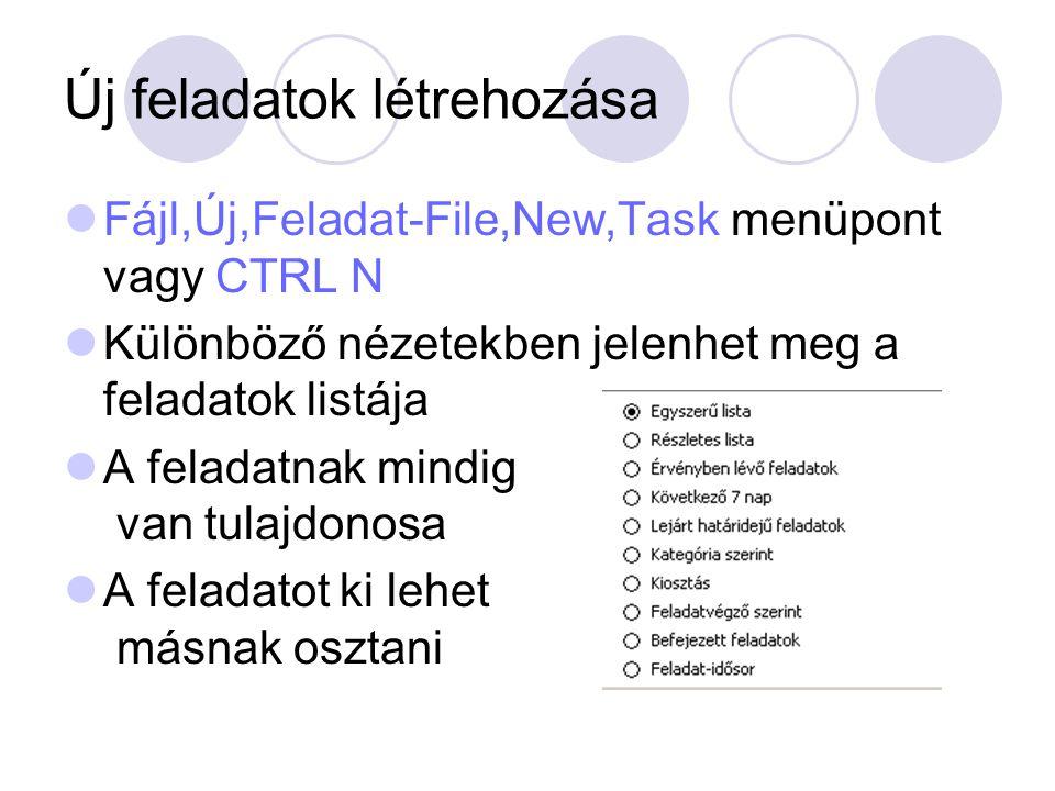 Új feladatok létrehozása Fájl,Új,Feladat-File,New,Task menüpont vagy CTRL N Különböző nézetekben jelenhet meg a feladatok listája A feladatnak mindig