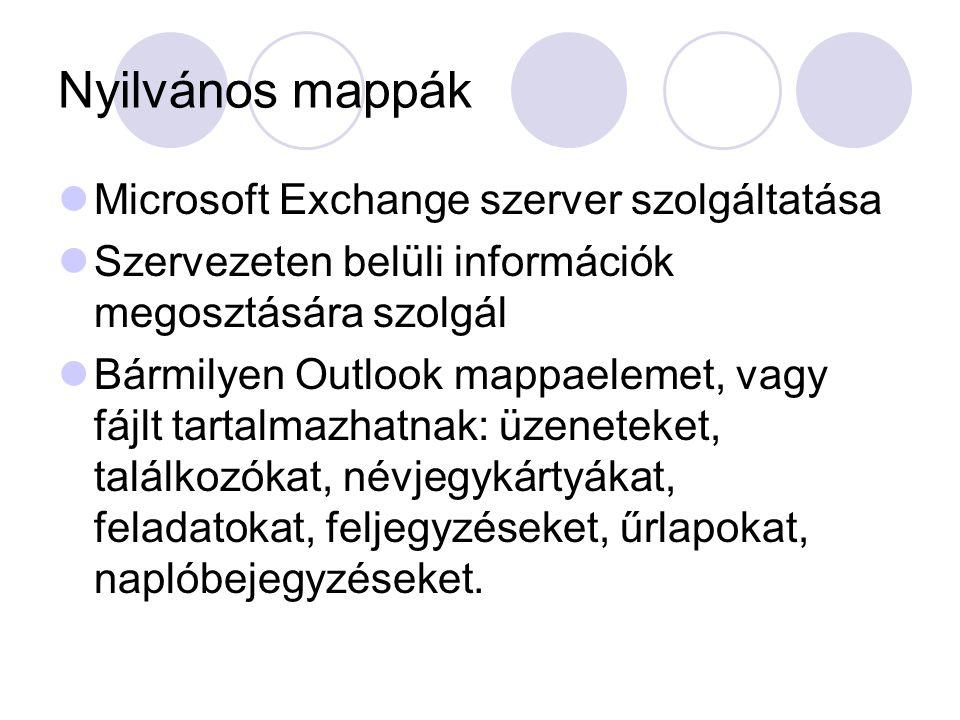 Nyilvános mappák Microsoft Exchange szerver szolgáltatása Szervezeten belüli információk megosztására szolgál Bármilyen Outlook mappaelemet, vagy fájl