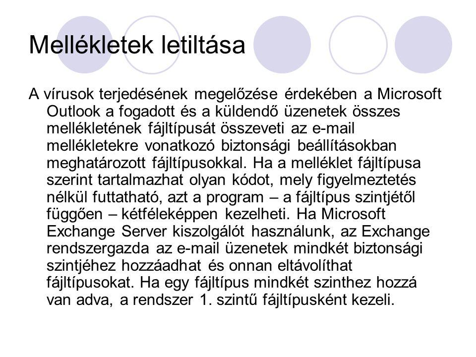 Mellékletek letiltása A vírusok terjedésének megelőzése érdekében a Microsoft Outlook a fogadott és a küldendő üzenetek összes mellékletének fájltípus