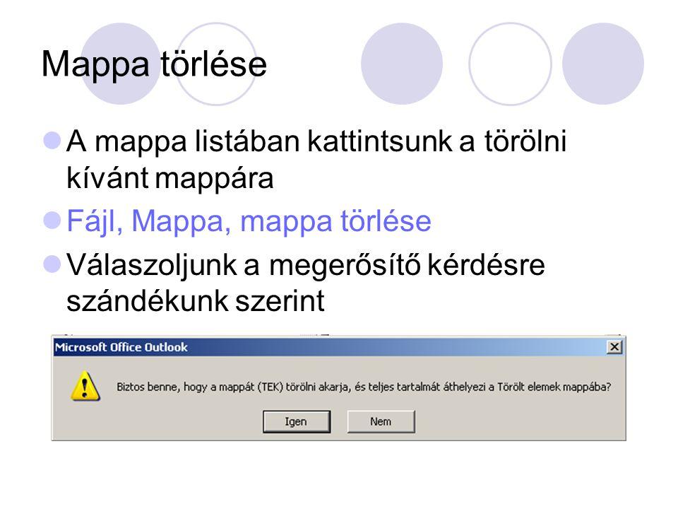 Mappa törlése A mappa listában kattintsunk a törölni kívánt mappára Fájl, Mappa, mappa törlése Válaszoljunk a megerősítő kérdésre szándékunk szerint