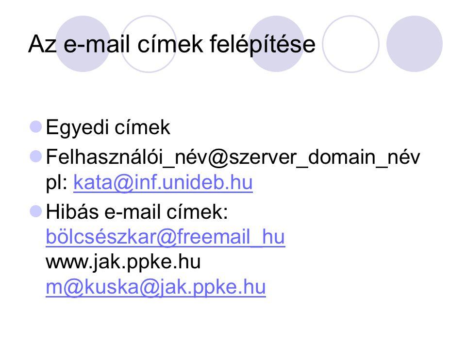 Az e-mail címek felépítése Egyedi címek Felhasználói_név@szerver_domain_név pl: kata@inf.unideb.hukata@inf.unideb.hu Hibás e-mail címek: bölcsészkar@f