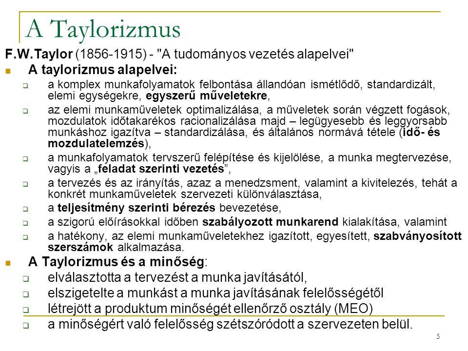 5 A Taylorizmus F.W.Taylor (1856-1915) -