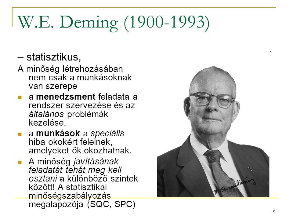 6 W.E. Deming (1900-1993) – statisztikus, A minőség létrehozásában nem csak a munkásoknak van szerepe a menedzsment feladata a rendszer szervezése és