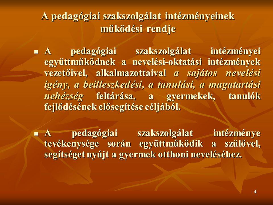 4 A pedagógiai szakszolgálat intézményeinek működési rendje A pedagógiai szakszolgálat intézményei együttműködnek a nevelési-oktatási intézmények vezetőivel, alkalmazottaival a sajátos nevelési igény, a beilleszkedési, a tanulási, a magatartási nehézség feltárása, a gyermekek, tanulók fejlődésének elősegítése céljából.