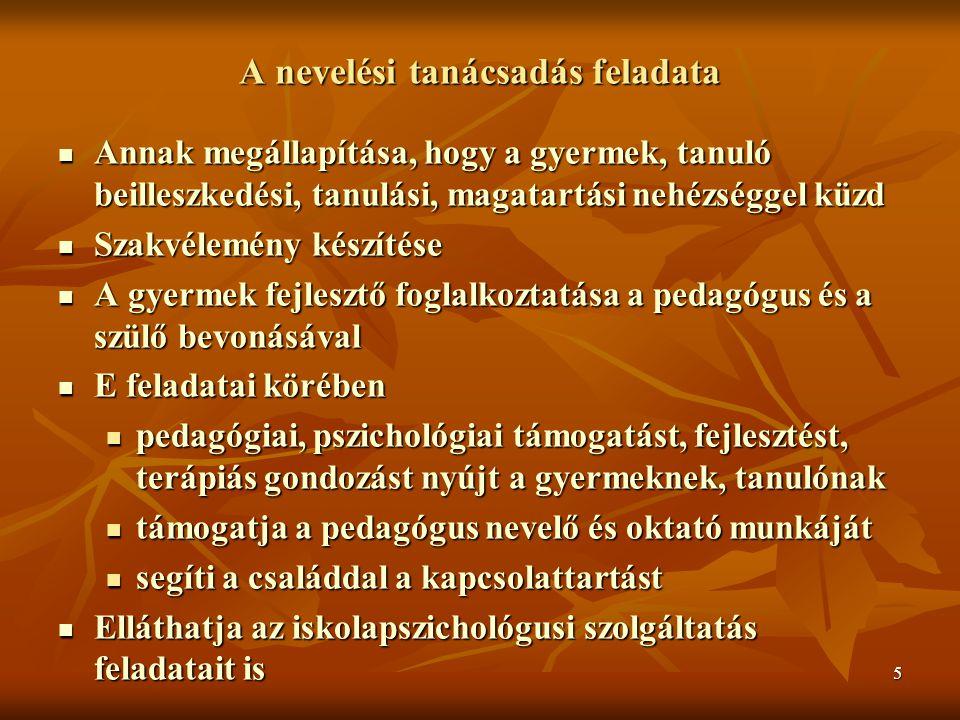 6 Nevelési tanácsadó feladatai 14/1994.MKM rendelet 22.