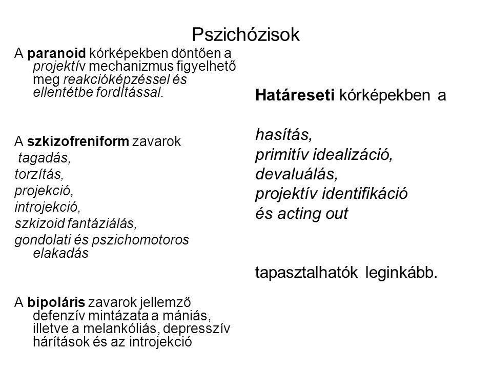 Pszichózisok A paranoid kórképekben döntően a projektív mechanizmus figyelhető meg reakcióképzéssel és ellentétbe fordítással.