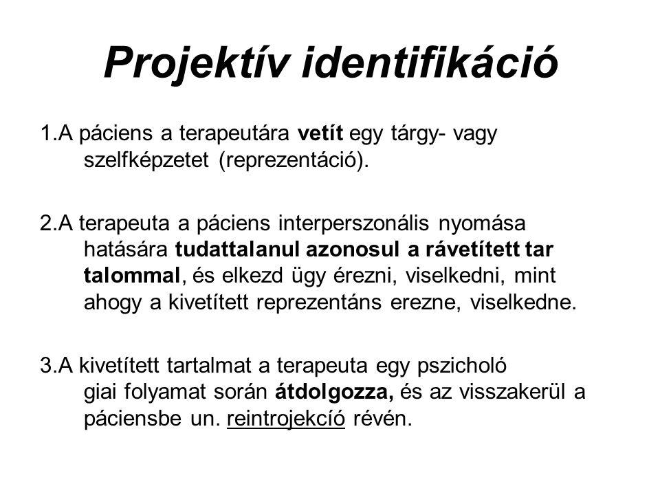 Projektív identifikáció 1.A páciens a terapeutára vetít egy tárgy- vagy szelfképzetet (reprezentáció).