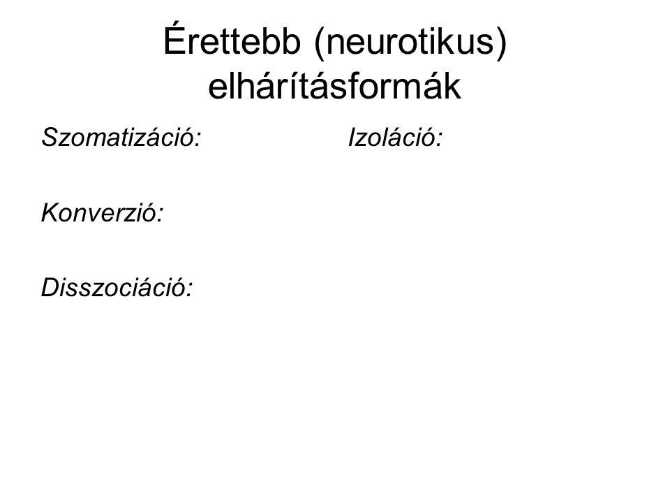 Érettebb (neurotikus) elhárításformák Szomatizáció: Konverzió: Disszociáció: Izoláció:
