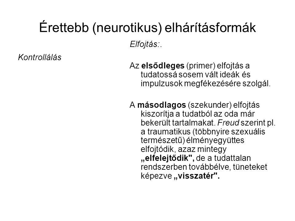 Érettebb (neurotikus) elhárításformák Kontrollálás Elfojtás:.