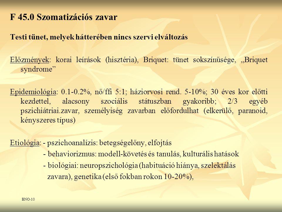 """F 45.0 Szomatizációs zavar Testi tünet, melyek hátterében nincs szervi elváltozás Előzmények: korai leírások (hisztéria), Briquet: tünet sokszínűsége, """"Briquet syndrome Epidemiológia: 0.1-0.2%, nő/ffi 5:1; háziorvosi rend."""