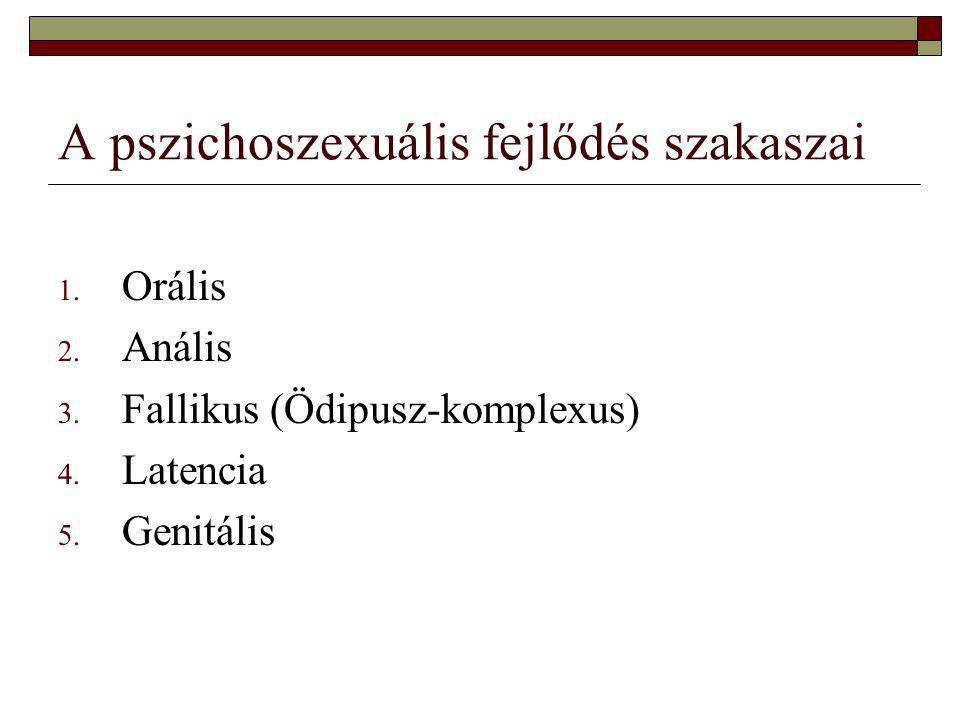 A pszichoszexuális fejlődés szakaszai 1.Orális 2.