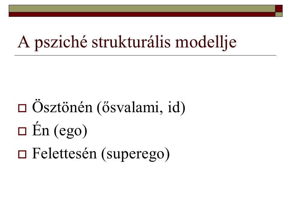 A psziché strukturális modellje  Ösztönén (ősvalami, id)  Én (ego)  Felettesén (superego)