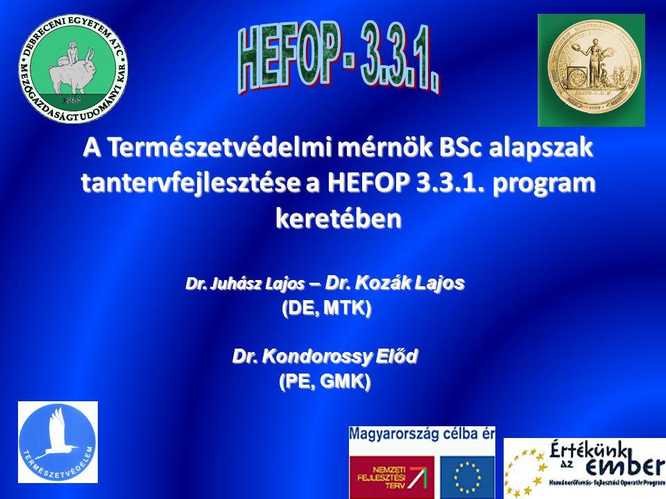 A Természetvédelmi mérnök BSc alapszak tantervfejlesztése a HEFOP 3.3.1. program keretében Dr. Juhász Lajos – Dr. Kozák Lajos (DE, MTK) (DE, MTK) Dr.