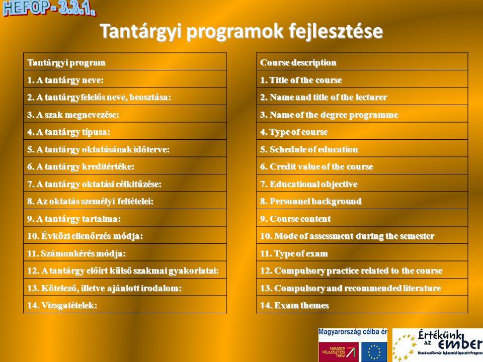 Tantárgyi programok fejlesztése Tantárgyi program 1. A tantárgy neve: 2. A tantárgyfelelős neve, beosztása: 3. A szak megnevezése: 4. A tantárgy típus