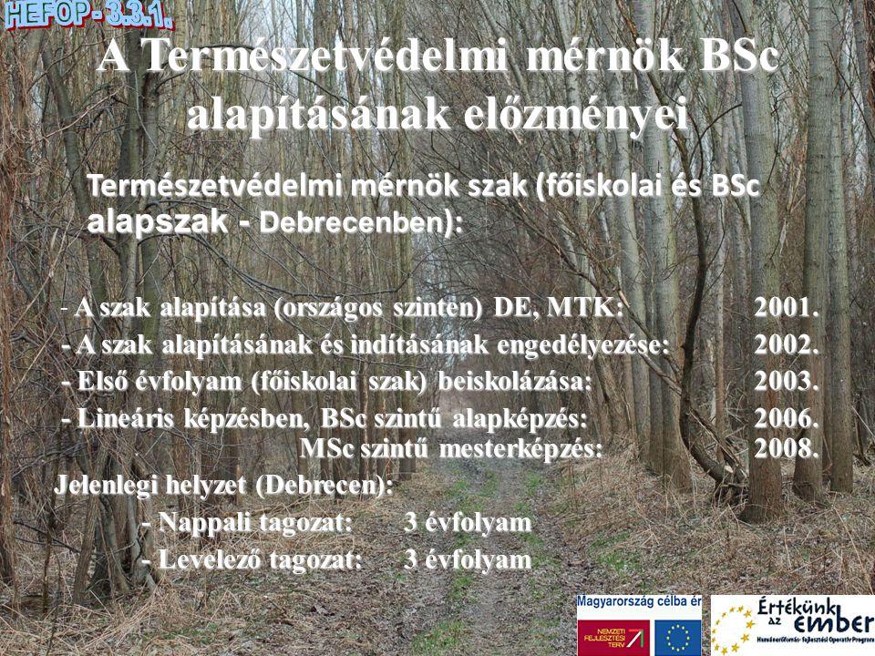 A Természetvédelmi mérnök BSc alapításának előzményei Természetvédelmi mérnök szak (főiskolai és BSc alapszak - Debrecenben ): A szak alapítása (orszá