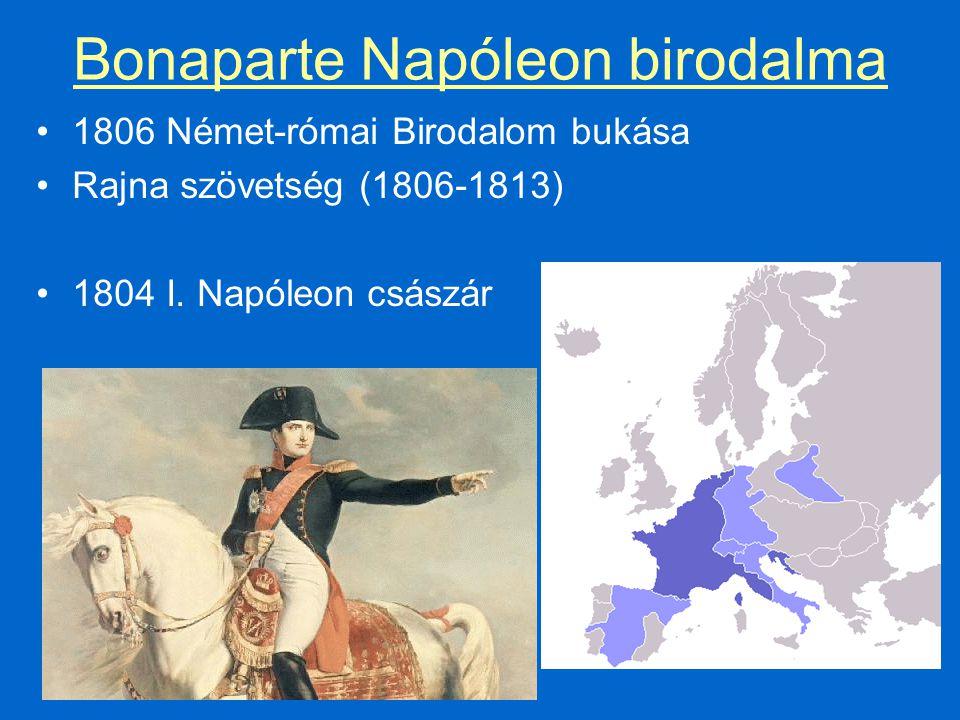 Bonaparte Napóleon birodalma 1806 Német-római Birodalom bukása Rajna szövetség (1806-1813) 1804 I.