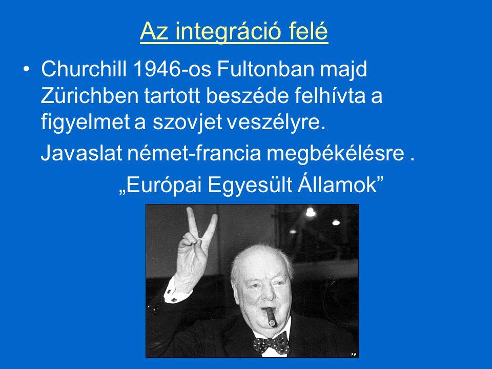 Az integráció felé Churchill 1946-os Fultonban majd Zürichben tartott beszéde felhívta a figyelmet a szovjet veszélyre.