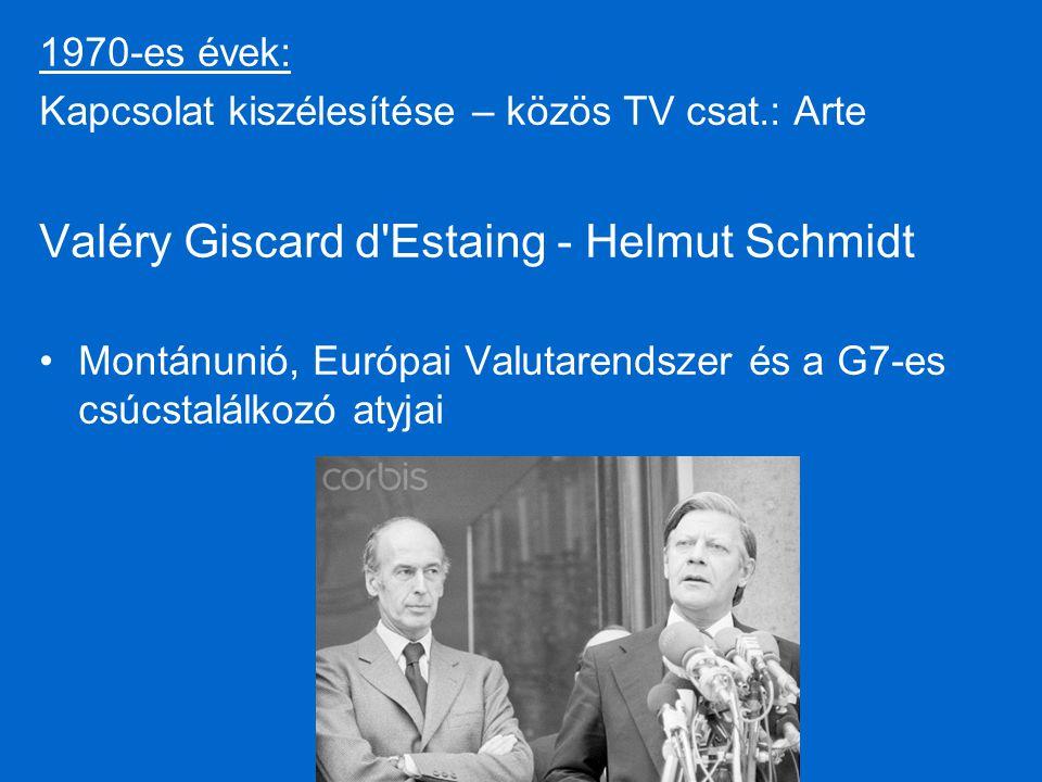 1970-es évek: Kapcsolat kiszélesítése – közös TV csat.: Arte Valéry Giscard d Estaing - Helmut Schmidt Montánunió, Európai Valutarendszer és a G7-es csúcstalálkozó atyjai