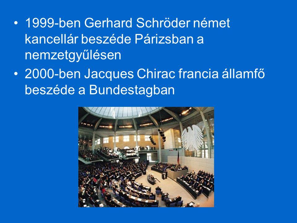1999-ben Gerhard Schröder német kancellár beszéde Párizsban a nemzetgyűlésen 2000-ben Jacques Chirac francia államfő beszéde a Bundestagban
