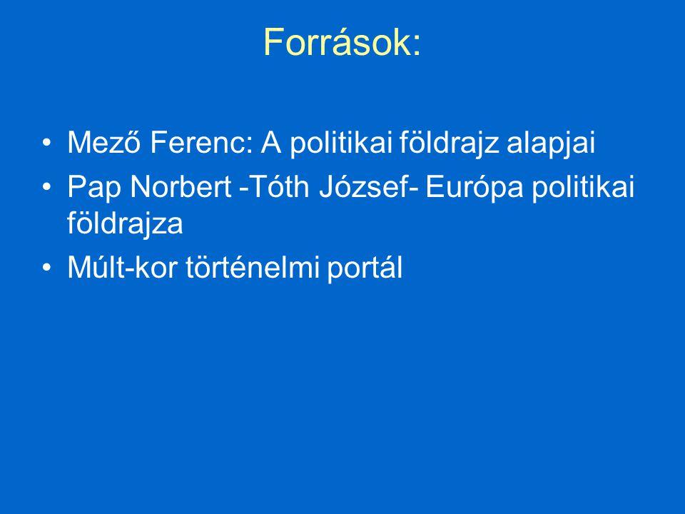 Források: Mező Ferenc: A politikai földrajz alapjai Pap Norbert -Tóth József- Európa politikai földrajza Múlt-kor történelmi portál