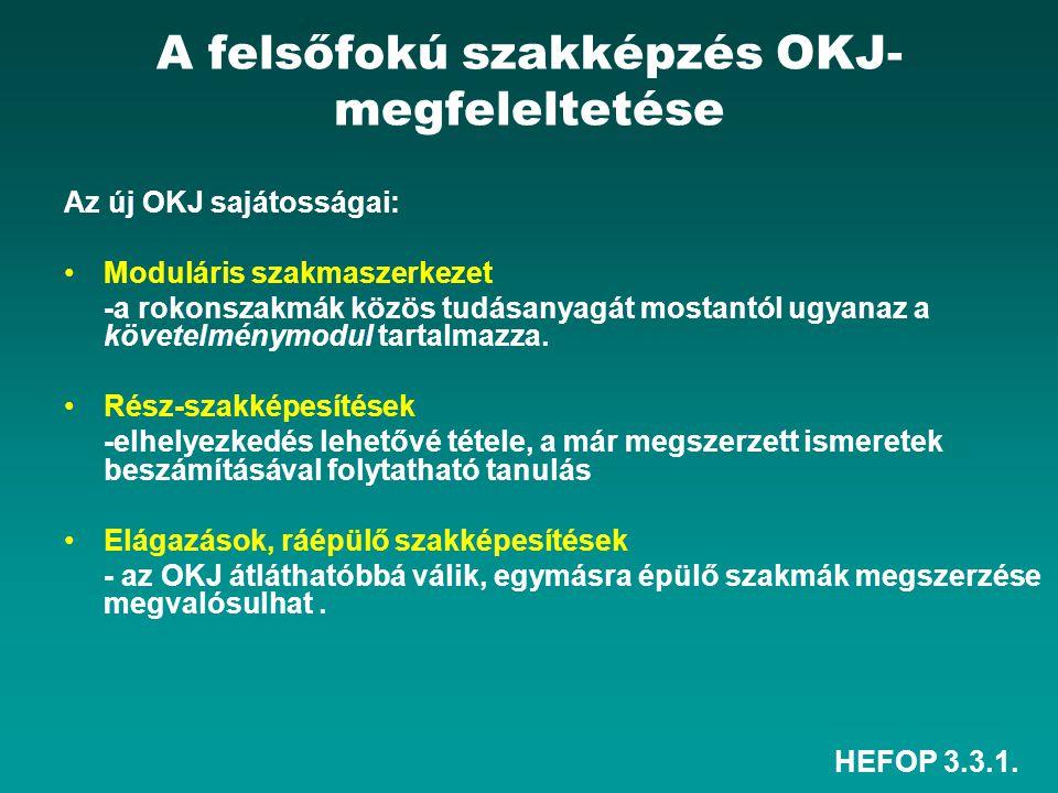 HEFOP 3.3.1. A felsőfokú szakképzés OKJ- megfeleltetése Az új OKJ sajátosságai: Moduláris szakmaszerkezet -a rokonszakmák közös tudásanyagát mostantól