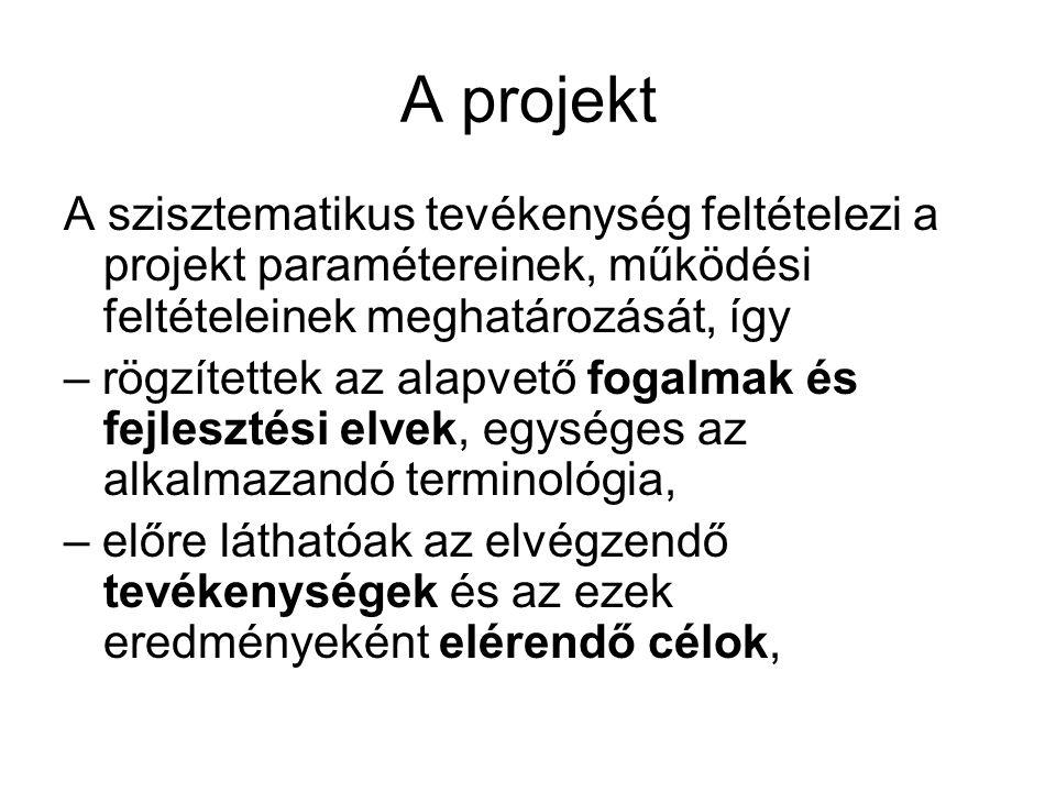 A projekt A szisztematikus tevékenység feltételezi a projekt paramétereinek, működési feltételeinek meghatározását, így – rögzítettek az alapvető fogalmak és fejlesztési elvek, egységes az alkalmazandó terminológia, – előre láthatóak az elvégzendő tevékenységek és az ezek eredményeként elérendő célok,