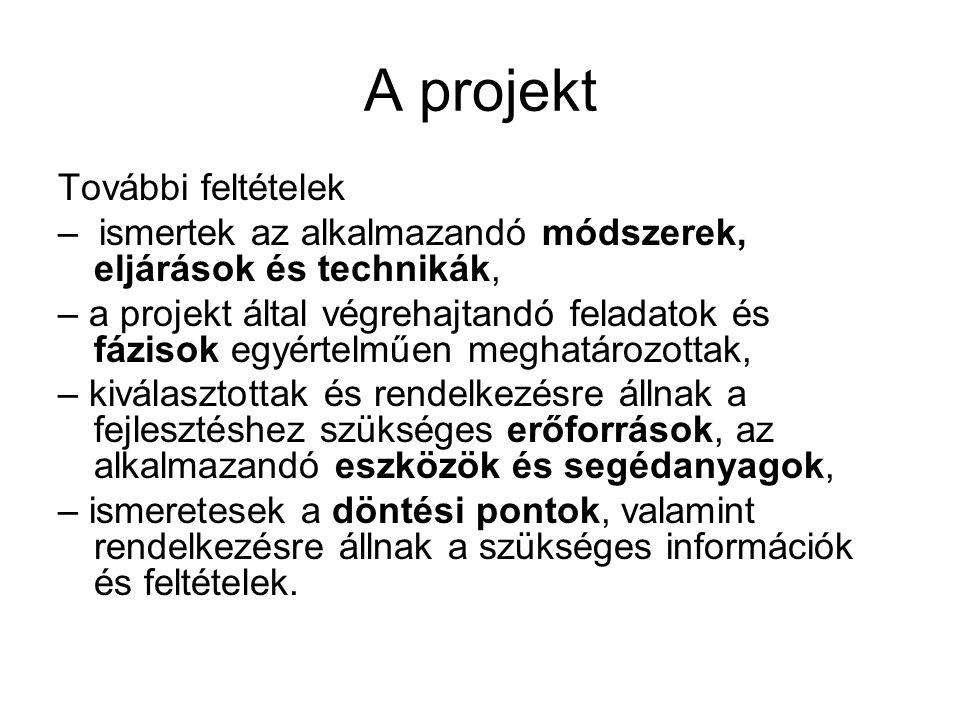 A projekt További feltételek – ismertek az alkalmazandó módszerek, eljárások és technikák, – a projekt által végrehajtandó feladatok és fázisok egyért