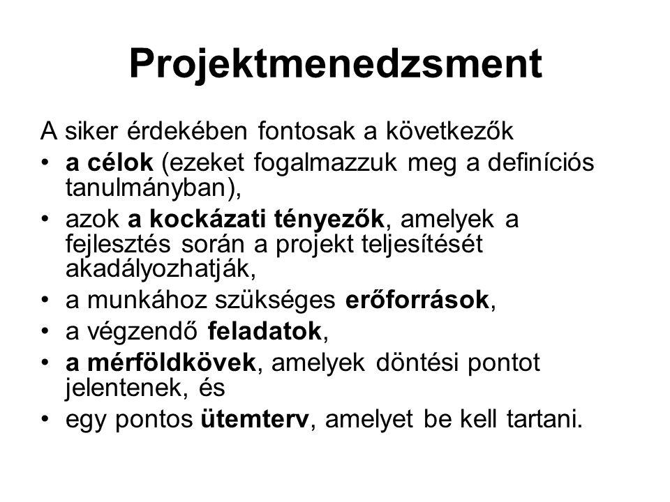 Projektmenedzsment A rendszerfejlesztés több lépésben végrehajtott folyamat, amelynek során a munkában több szakmai csoport vesz részt, és különböző feltételek között különböző tevékenységeket végeznek.