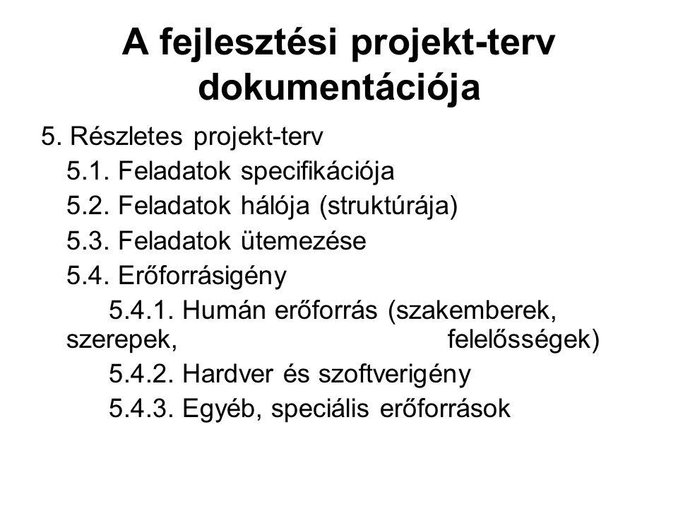 A fejlesztési projekt-terv dokumentációja 5. Részletes projekt-terv 5.1. Feladatok specifikációja 5.2. Feladatok hálója (struktúrája) 5.3. Feladatok ü