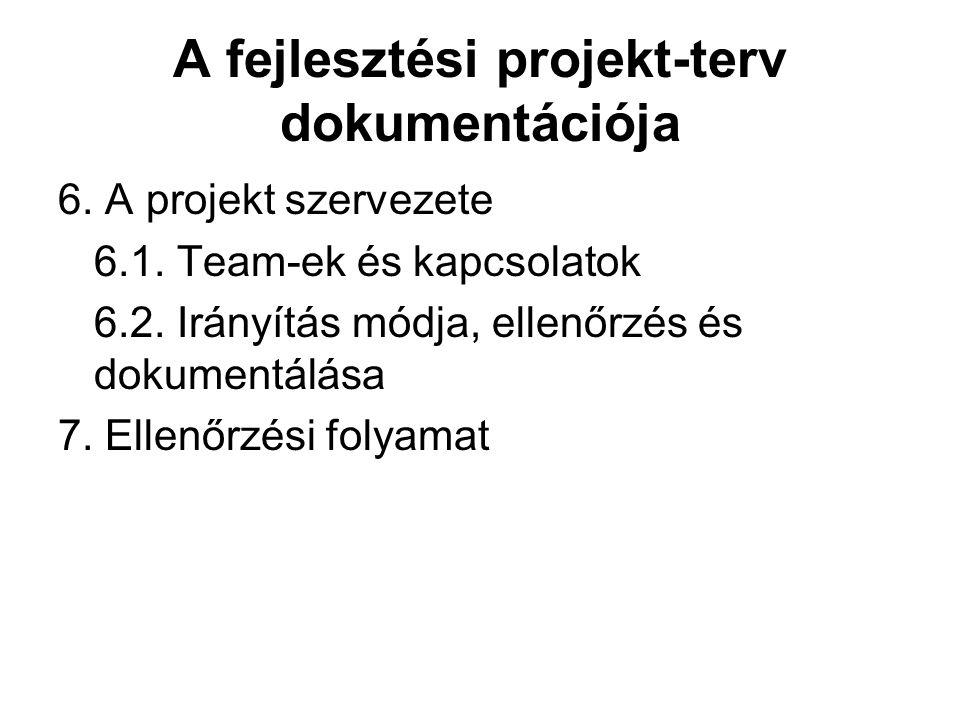 A fejlesztési projekt-terv dokumentációja 6. A projekt szervezete 6.1. Team-ek és kapcsolatok 6.2. Irányítás módja, ellenőrzés és dokumentálása 7. Ell