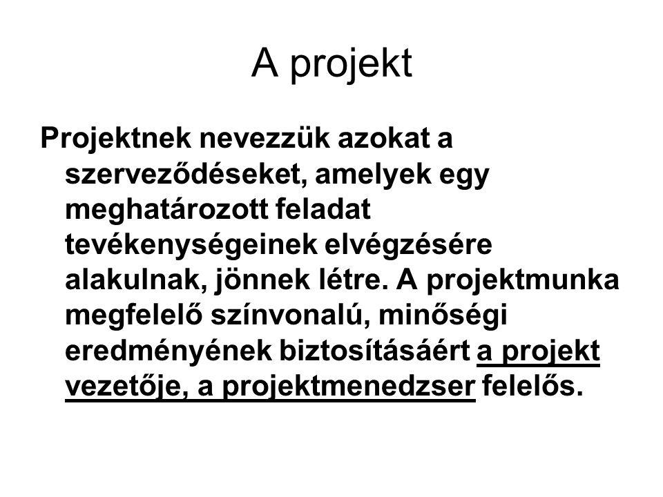 A projekt Projektnek nevezzük azokat a szerveződéseket, amelyek egy meghatározott feladat tevékenységeinek elvégzésére alakulnak, jönnek létre. A proj