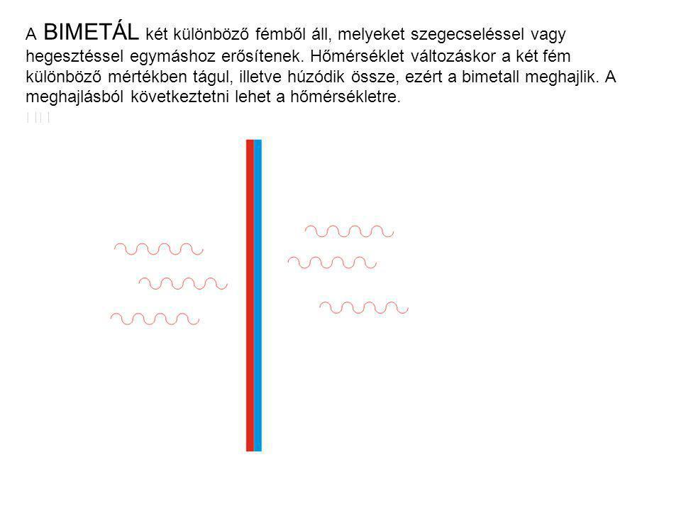 A BIMETÁL két különböző fémből áll, melyeket szegecseléssel vagy hegesztéssel egymáshoz erősítenek. Hőmérséklet változáskor a két fém különböző mérték