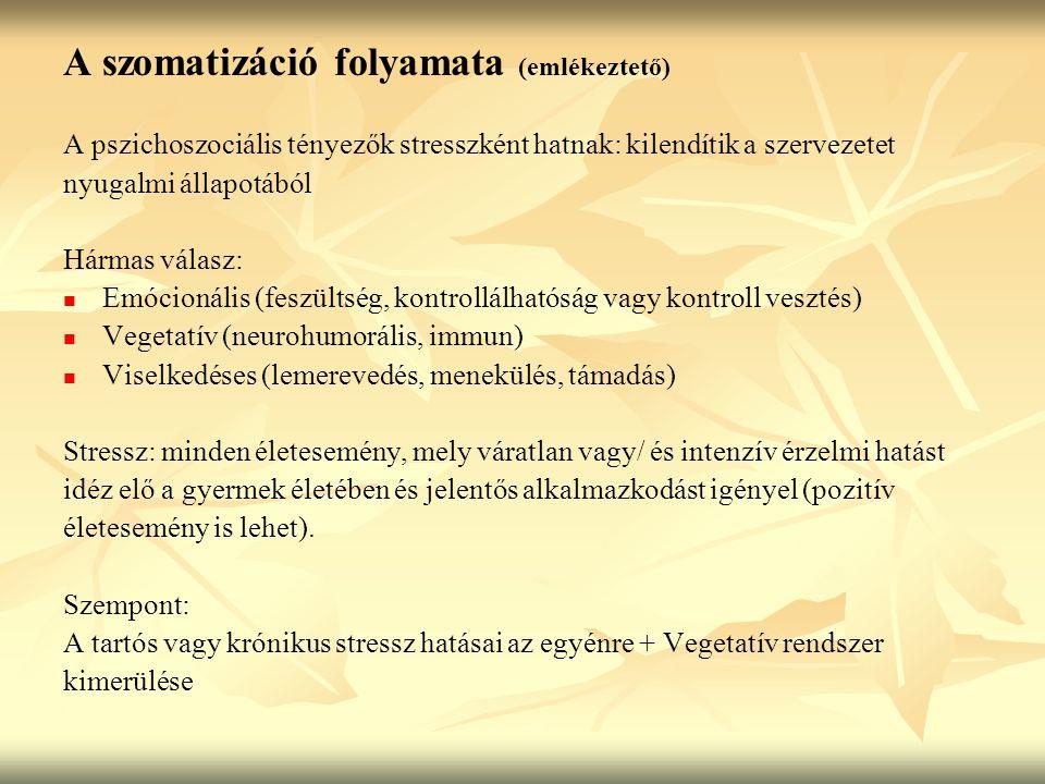 Szomatizációra prediszponáló tényezők Biológiai: Fokozott hajlam a szorongásra (genetikus) Fokozott vegetatív válaszkészség Egyéni biológiai reakciók (vegetatív válaszok) Vegetatív visszacsatolás hiánya Szervi vulnerabilitás Pszichológiai: Biztonságot nem nyújtó anyai attitűd (szomatizáló,szorongó,érzelmileg elhanyagoló) Konfliktus-telített családi miliő Pszichotrauma (szex.