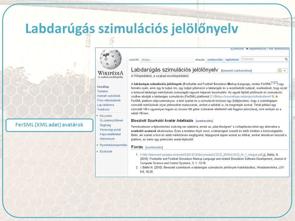 FerSML (XML adat) avatárok Labdarúgás szimulációs jelölőnyelv
