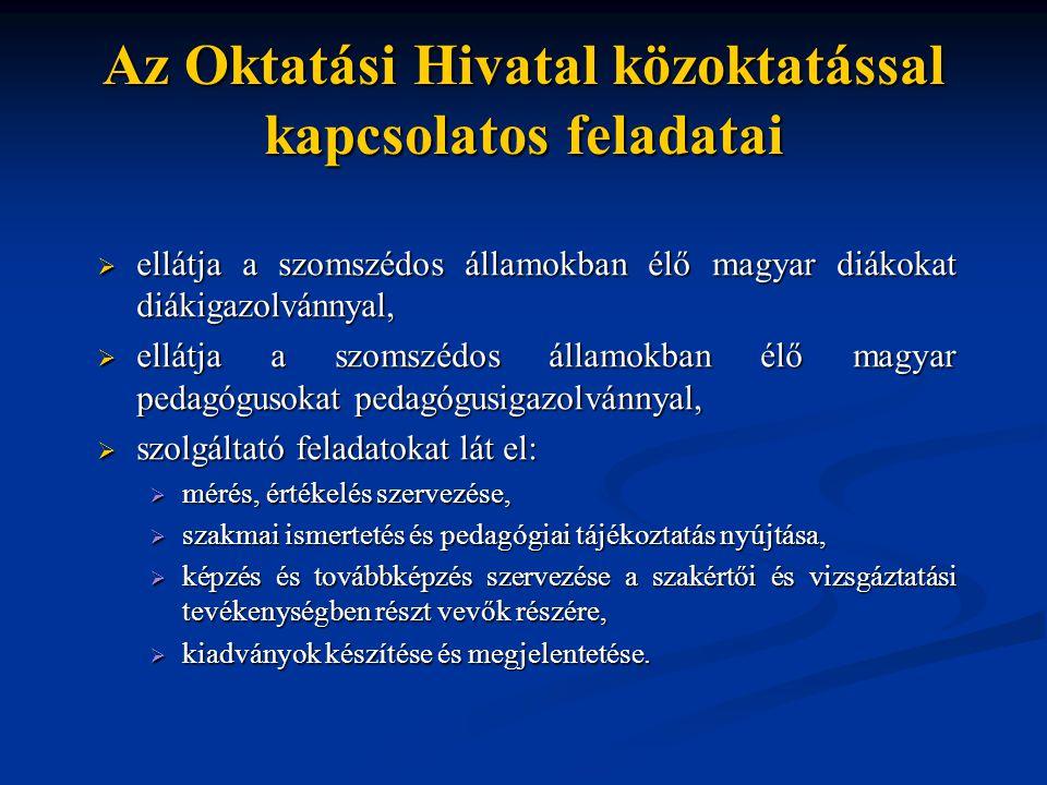 Az Oktatási Hivatal közoktatással kapcsolatos feladatai  ellátja a szomszédos államokban élő magyar diákokat diákigazolvánnyal,  ellátja a szomszédo