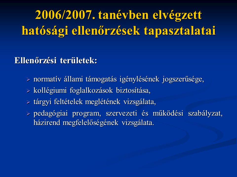 2006/2007. tanévben elvégzett hatósági ellenőrzések tapasztalatai Ellenőrzési területek:  normatív állami támogatás igénylésének jogszerűsége,  koll