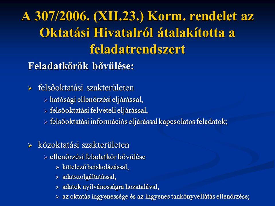 A 307/2006. (XII.23.) Korm. rendelet az Oktatási Hivatalról átalakította a feladatrendszert Feladatkörök bővülése:  felsőoktatási szakterületen  hat