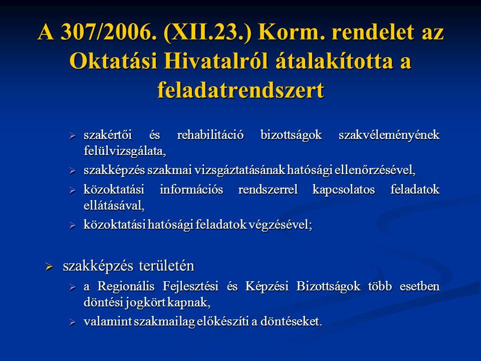A 307/2006. (XII.23.) Korm. rendelet az Oktatási Hivatalról átalakította a feladatrendszert  szakértői és rehabilitáció bizottságok szakvéleményének