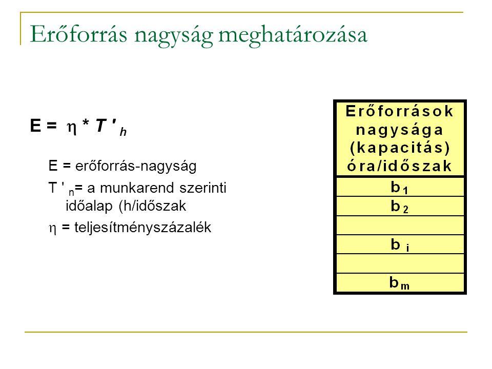 Erőforrás nagyság meghatározása E =  * T ' h E = erőforrás-nagyság T ' n = a munkarend szerinti időalap (h/időszak  = teljesítményszázalék