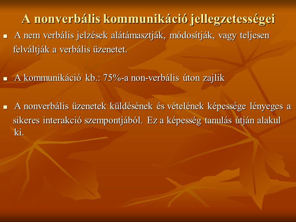 A nonverbális kommunikáció funkciói A két modalitás (verbális és nonverbális) általában összehangoltan, egymást támogatva működik.