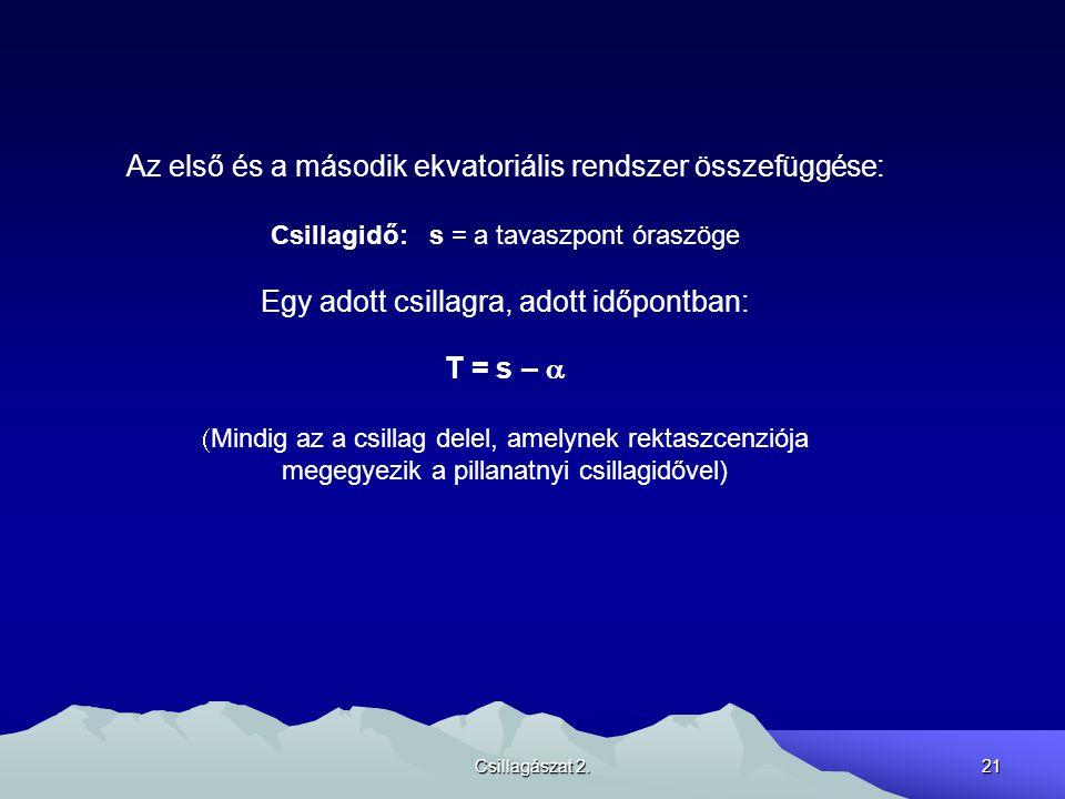 Csillagászat 2.21 Az első és a második ekvatoriális rendszer összefüggése: Csillagidő: s = a tavaszpont óraszöge Egy adott csillagra, adott időpontban: T = s –   Mindig az a csillag delel, amelynek rektaszcenziója megegyezik a pillanatnyi csillagidővel)