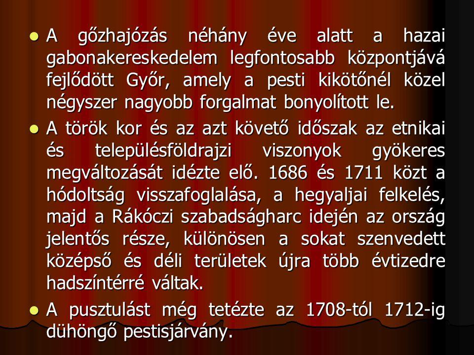 A gőzhajózás néhány éve alatt a hazai gabonakereskedelem legfontosabb központjává fejlődött Győr, amely a pesti kikötőnél közel négyszer nagyobb forgalmat bonyolított le.