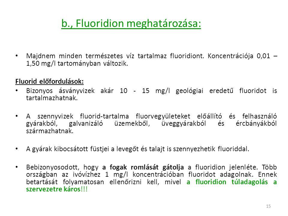15 b., Fluoridion meghatározása: Majdnem minden természetes víz tartalmaz fluoridiont. Koncentrációja 0,01 – 1,50 mg/l tartományban változik. Fluorid