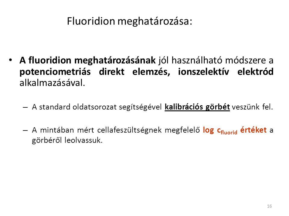 16 Fluoridion meghatározása: A fluoridion meghatározásának jól használható módszere a potenciometriás direkt elemzés, ionszelektív elektród alkalmazásával.