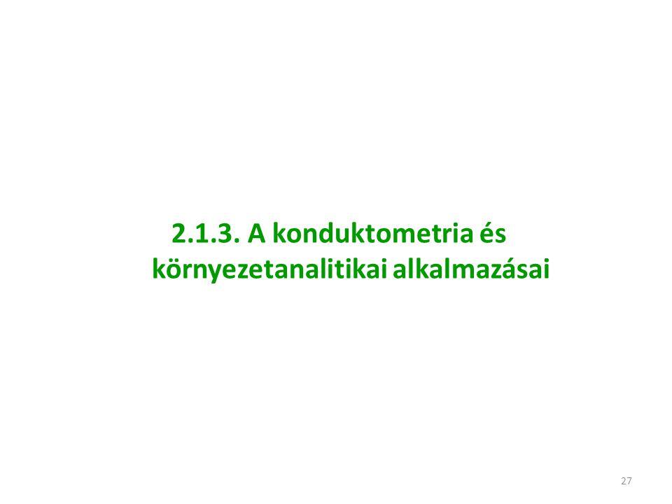 27 2.1.3. A konduktometria és környezetanalitikai alkalmazásai