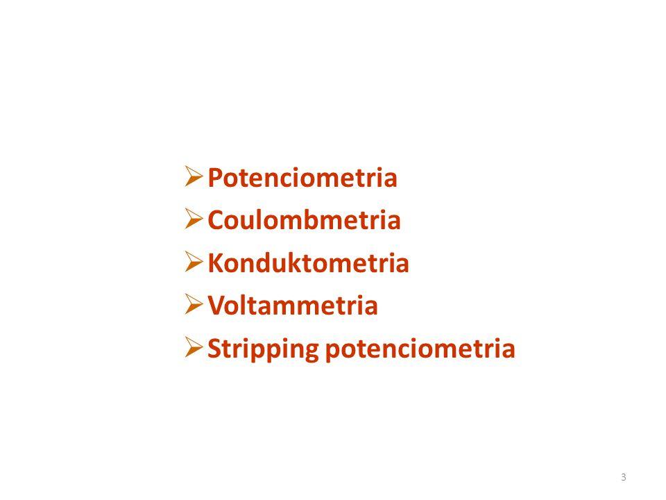 3  Potenciometria  Coulombmetria  Konduktometria  Voltammetria  Stripping potenciometria